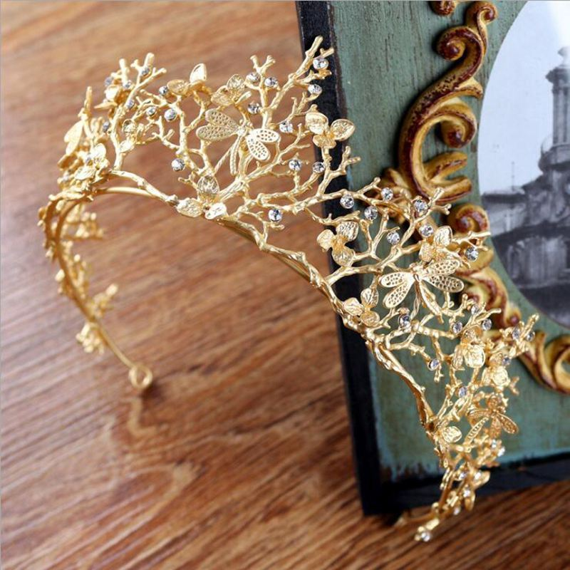 Vintage Baroque Wedding Bridal Hair Accessories Dragonfly Women Gold Crown Z5J2