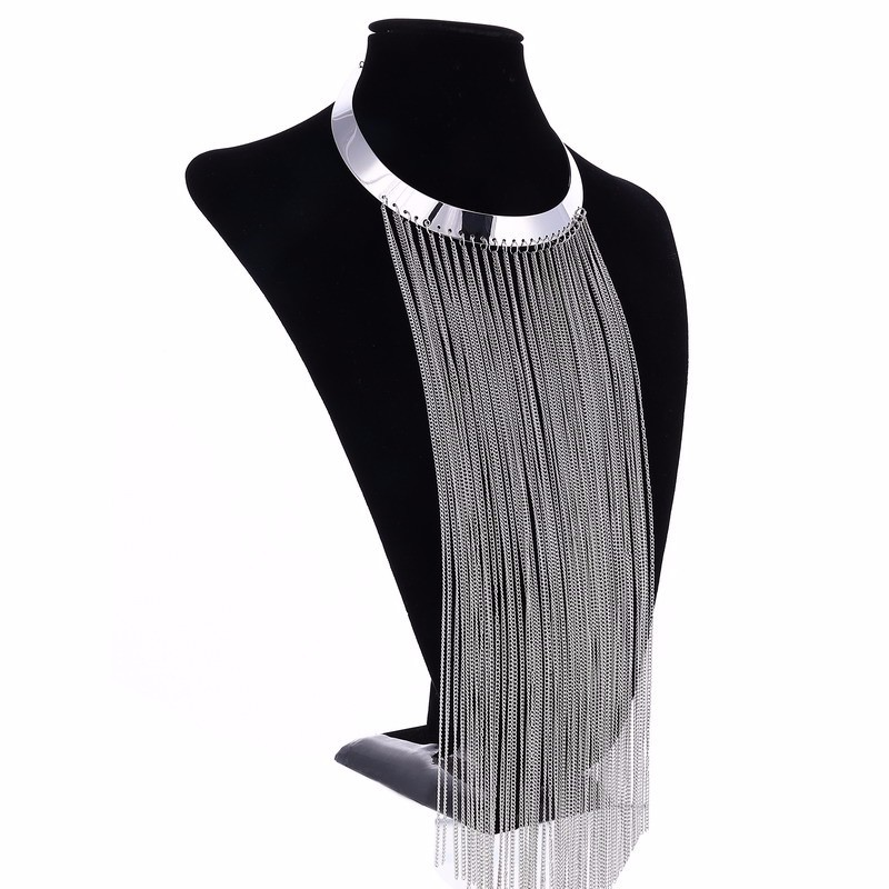 Details about Long Tassel Necklace   Hot Metal Exaggerated Glossy Collar    Alloy Tassel I U2U2 7abf6d4a021b