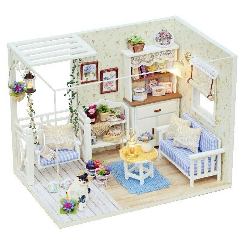 Doll House Furniture Diy Miniature Dust Cover 3d Wooden Miniature