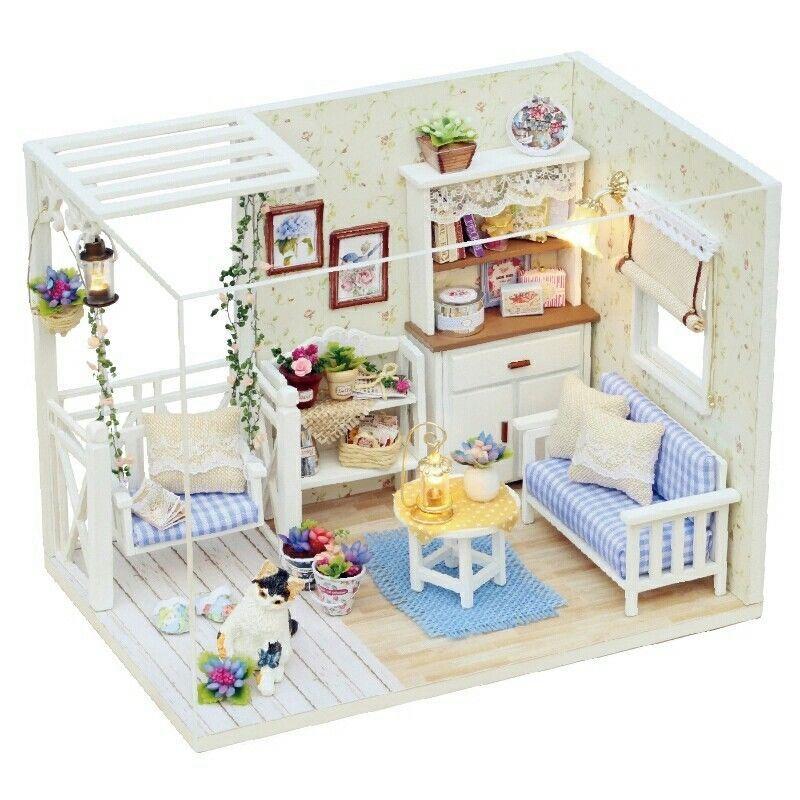5X(Puppenhaus Moebel Diy Miniatur Staubschutz 3D Holz Miniatur Puppenhaus S M0O6  | Online Store