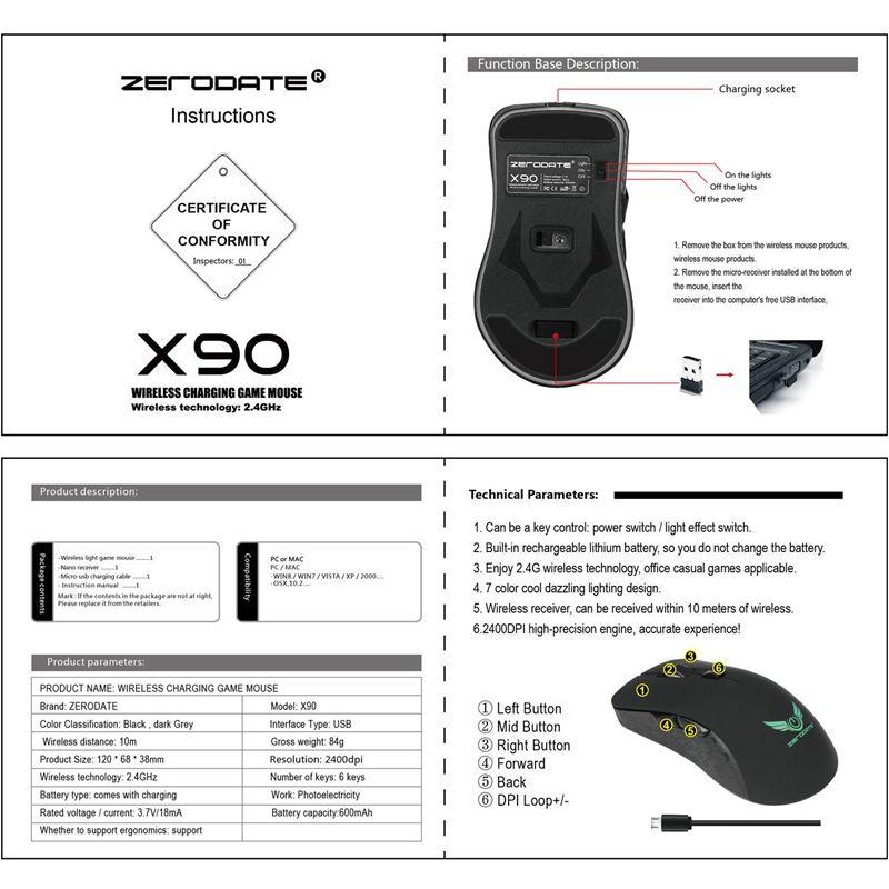 ZERODATE-X90-USB-2-4GHz-Souris-Sans-Fil-Colore-Respiration-Retro-Eclairage-2-8S6 miniature 10