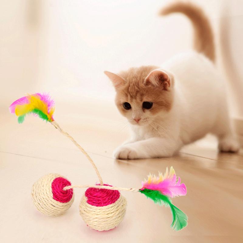 1 pieza Juguete de gatito gato animal Juguete para rascar gato sisal rodant G2N5