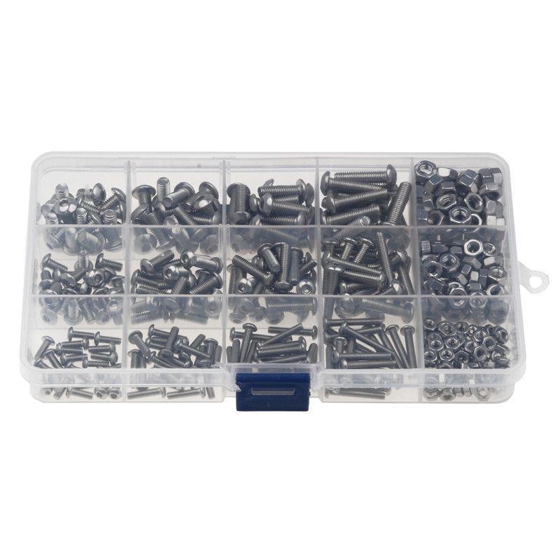 NUZAMAS 480 St/ücke M2 M3 M4 304 Edelstahl Innensechskantschrauben und Muttern Sortiment /& Innensechskantschl/üssel mit Aufbewahrungsbox