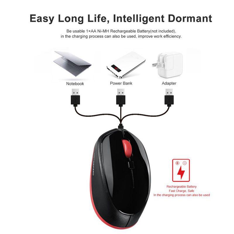 1X-Motospeed-BG20-souris-sans-fil-Bluetooth-2-4G-Mini-souris-optique-2400-D-4D4 miniature 6
