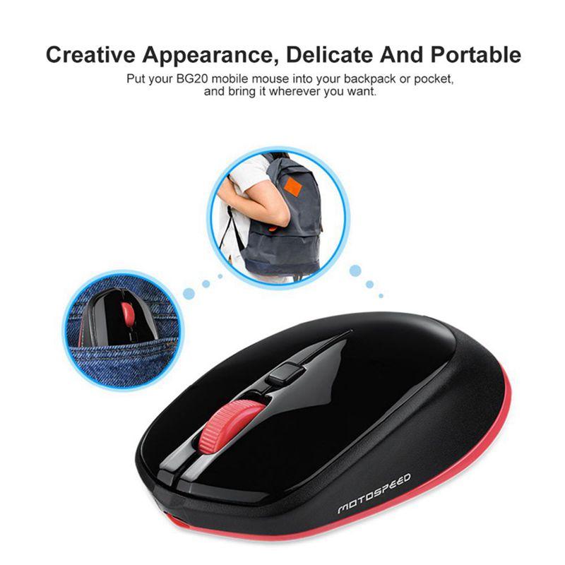 1X-Motospeed-BG20-souris-sans-fil-Bluetooth-2-4G-Mini-souris-optique-2400-D-4D4 miniature 7