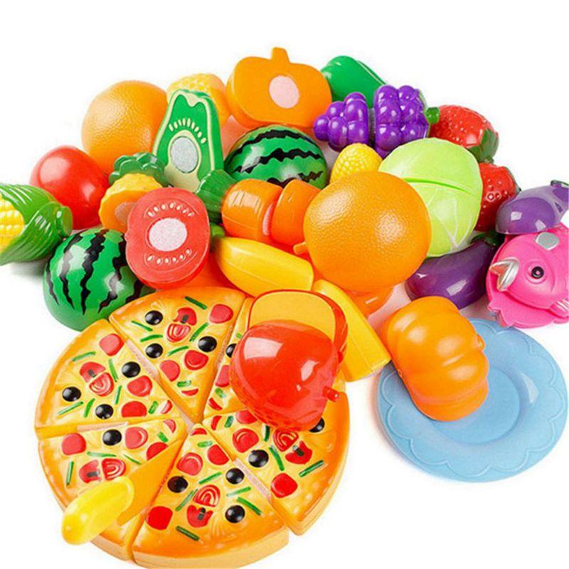 7X(24 PCS Enfants Jouer Maison Jouet Coupe Fruits En Plastique Legumes Pizza U6