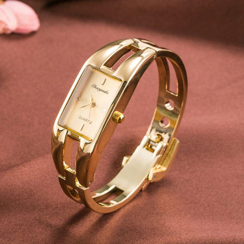 Chaoyada-Fashion-Luxus-Damen-Gold-Armbanduhr-Quarz-Armband-Uhr-u7x6 Indexbild 3