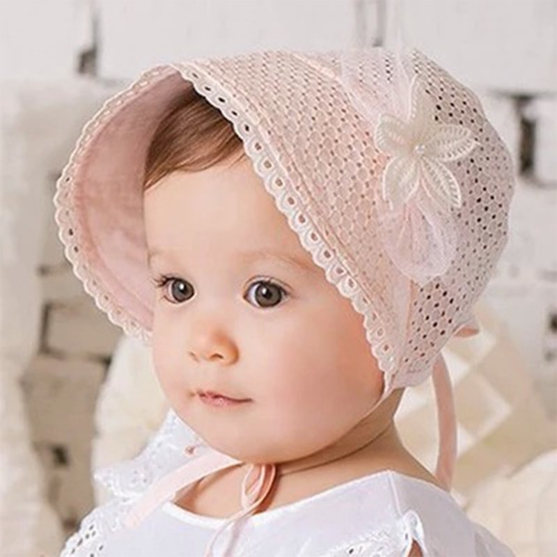 Spring Cap Summer Sweet Princess Hollow Baby Girls Hat Lace-up Beanie Cotto  Y5T1 da97c9a022a