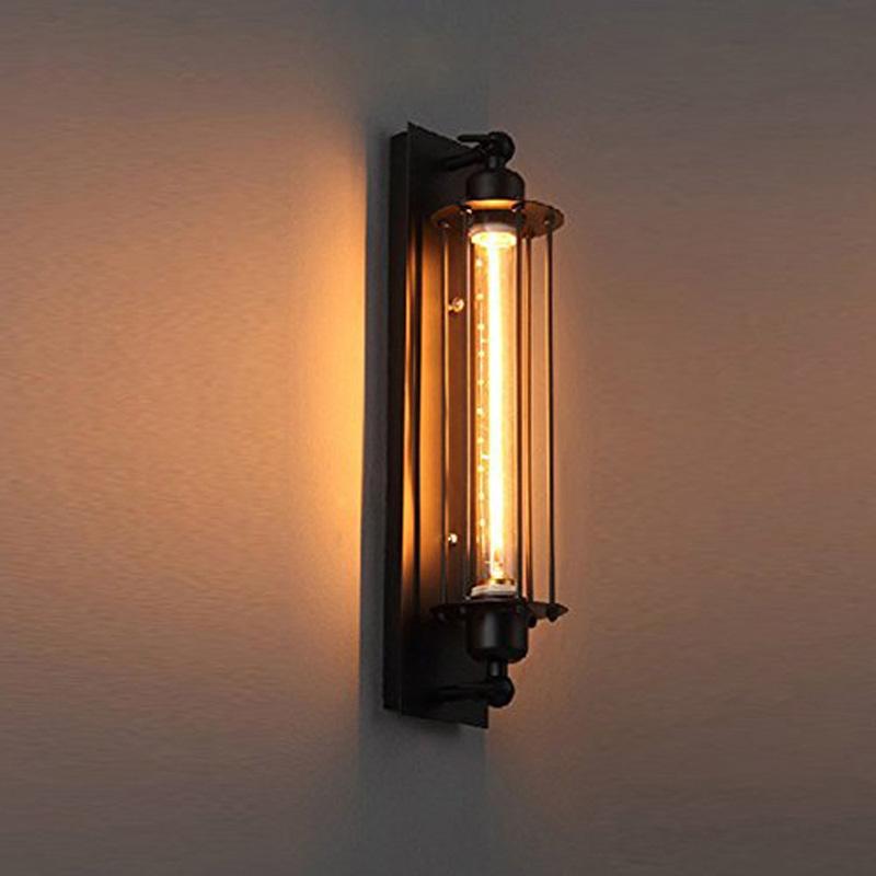 retro schwarz floete wand kerzenhalter antik lampe industriellen stil lamp t8t3 ebay. Black Bedroom Furniture Sets. Home Design Ideas