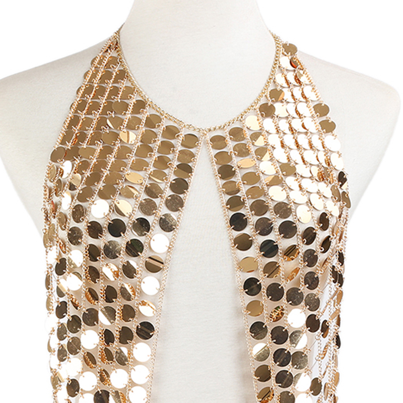 f00ce7738e1d9 Chain Crop Tops Summer Sexy Plain Sparkly Halter Nightclub Party ...
