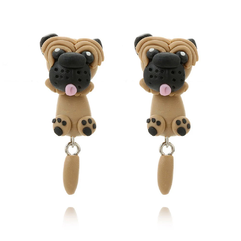 Cute Shapi Dog Earrings Looks Fashion And Interesting Handmade Polymer Clay Craft The Pattern Is Realistic Wear It As If Mouth Nips Your