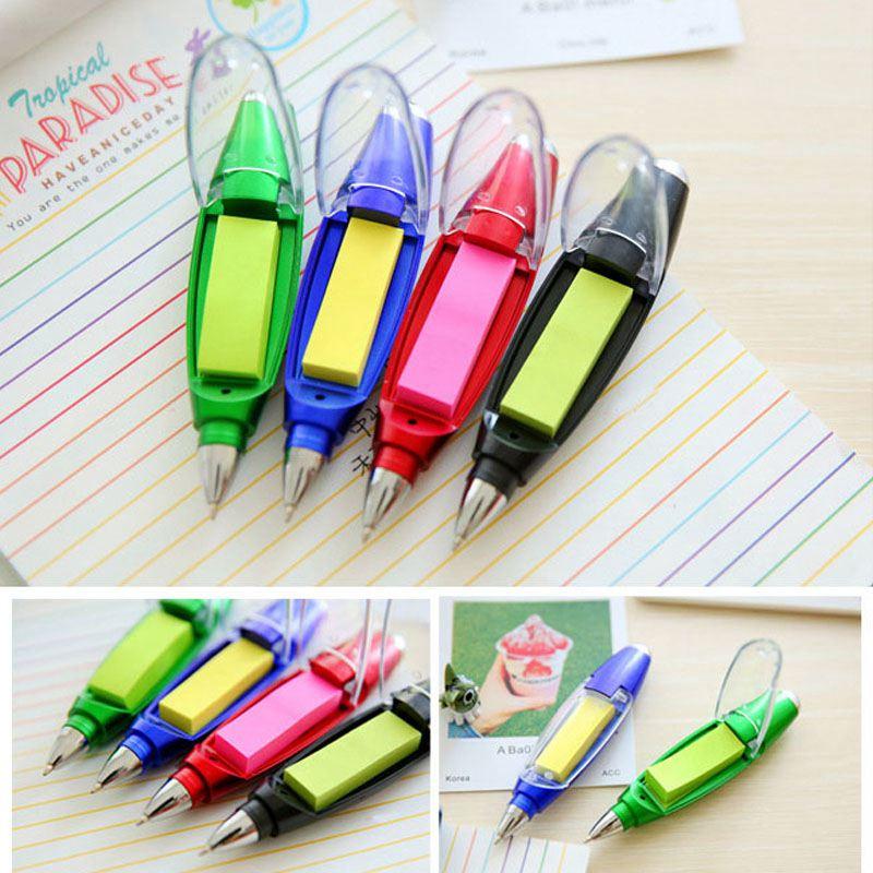 1X-Kunststoff-Kugelschreiber-kreative-Kugelschreiber-mit-Notizblock-Licht-LP1P7 Indexbild 3