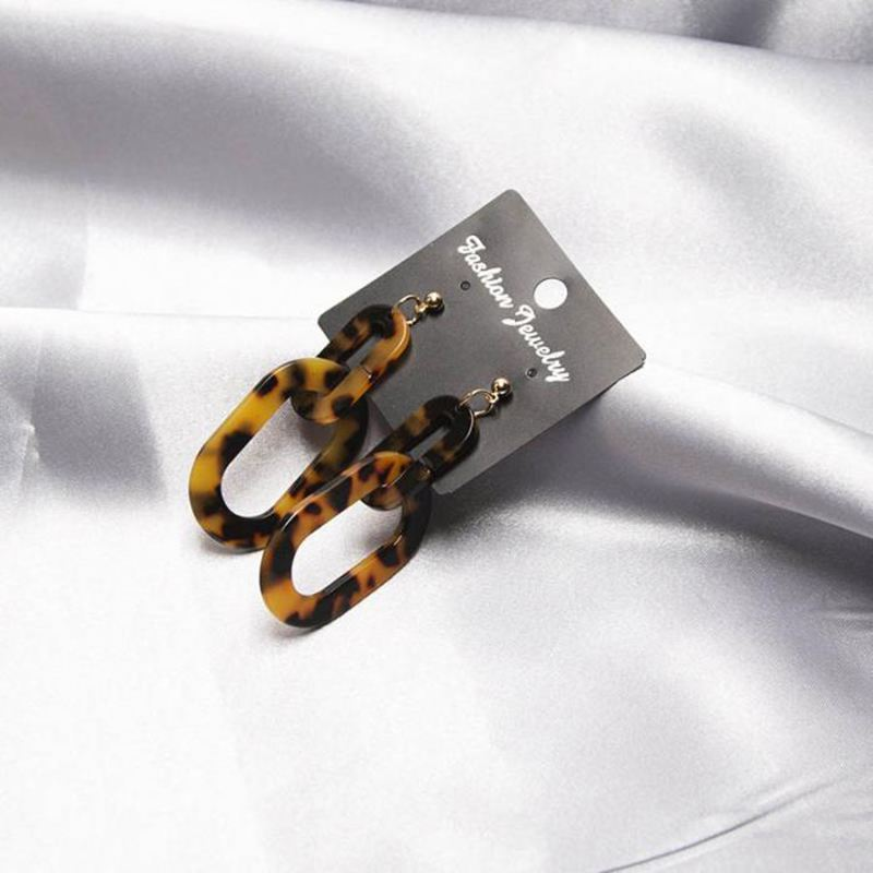 Large Acrylic Leopard Square Earrings for Women Minimalist Jewelry Cutout S I1Z3
