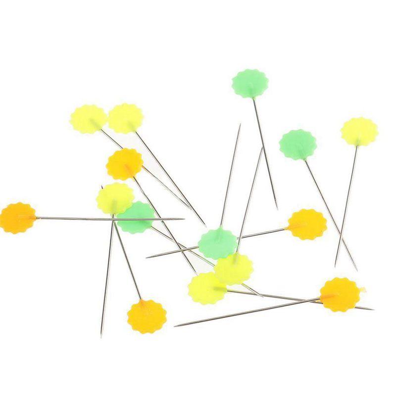 100-Teile-Teutel-Pins-Mischfarben-Naehen-Patchwork-Pins-Blumenkopf-Pins-N-U4Z6 Indexbild 2