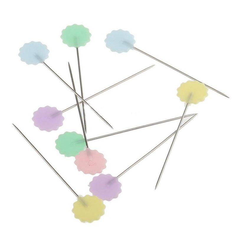 100-Teile-Teutel-Pins-Mischfarben-Naehen-Patchwork-Pins-Blumenkopf-Pins-N-U4Z6 Indexbild 3