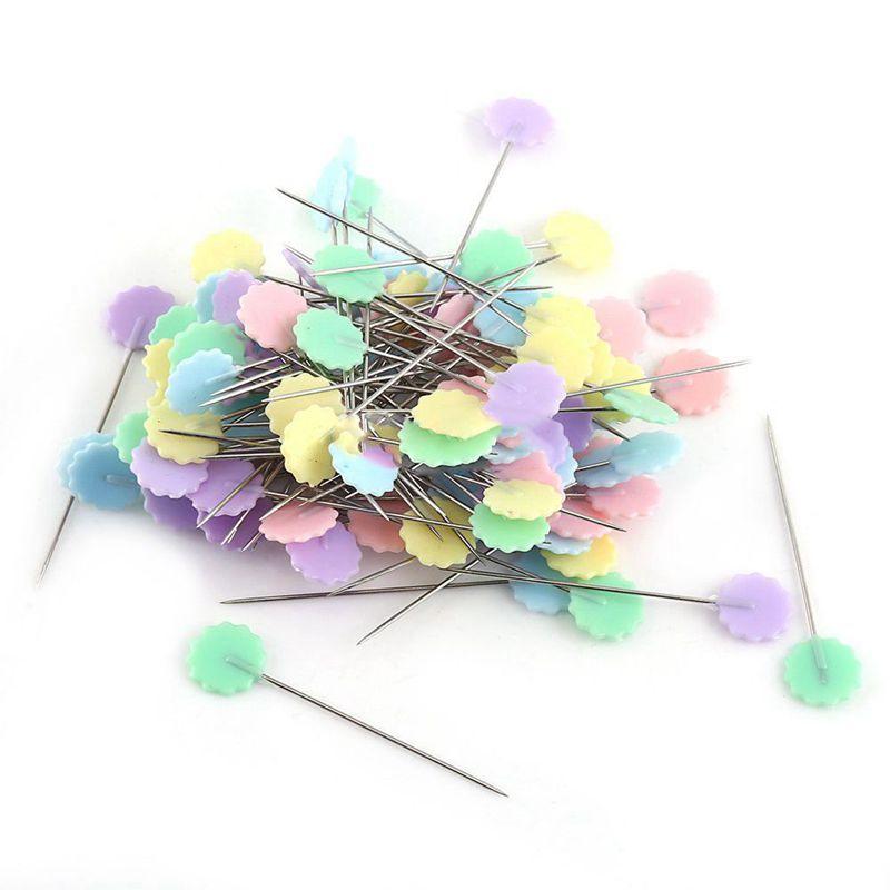 100-Teile-Teutel-Pins-Mischfarben-Naehen-Patchwork-Pins-Blumenkopf-Pins-N-U4Z6 Indexbild 4