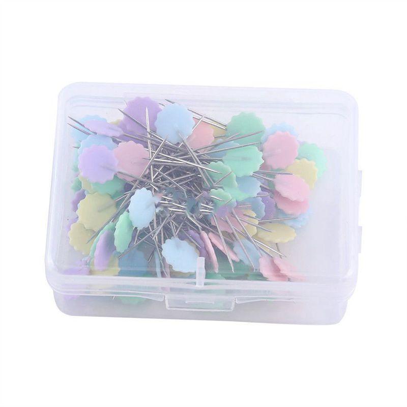 100-Teile-Teutel-Pins-Mischfarben-Naehen-Patchwork-Pins-Blumenkopf-Pins-N-U4Z6 Indexbild 5