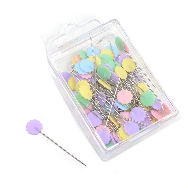 100-Teile-Teutel-Pins-Mischfarben-Naehen-Patchwork-Pins-Blumenkopf-Pins-N-U4Z6 Indexbild 8