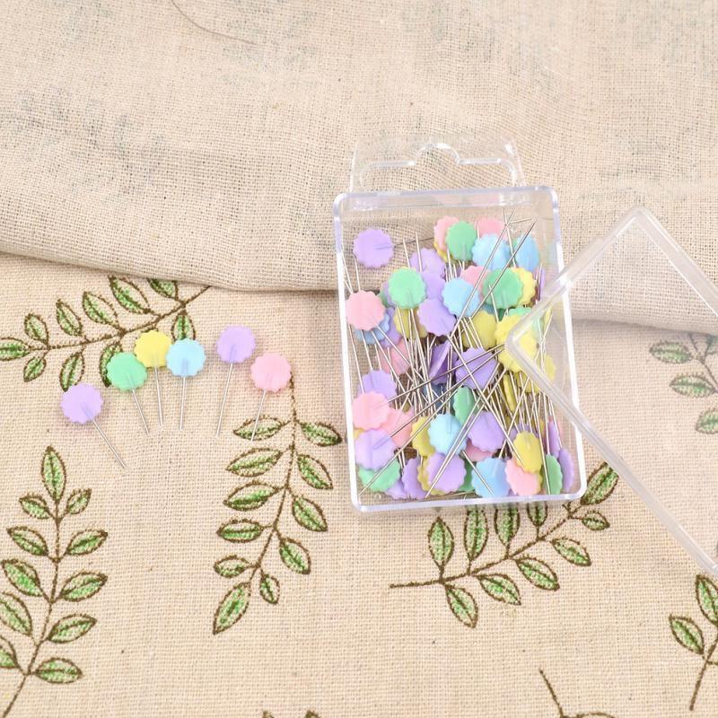 100-Teile-Teutel-Pins-Mischfarben-Naehen-Patchwork-Pins-Blumenkopf-Pins-N-U4Z6