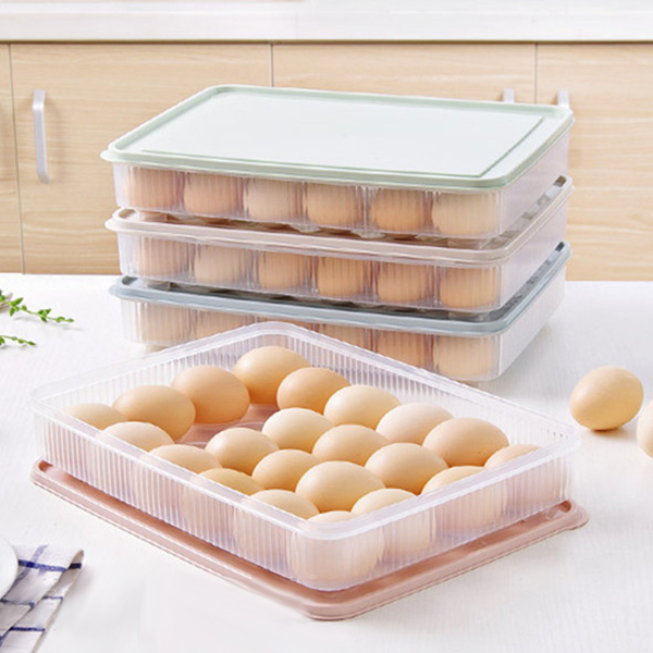 Clear Large Capacity Portable Home Picnic Plastic Egg Box Case 24 Holder Storage Container Fridge Material: plastic. Size: 31 * 23 * 6 cm. Weight: 240 g