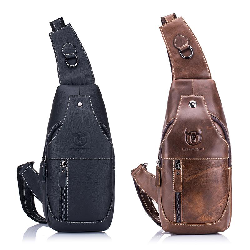 Men-039-s-Sling-Bag-Genuine-Leather-Chest-Shoulder-Backpack-Cross-Body-Purse-Wa-H6T6