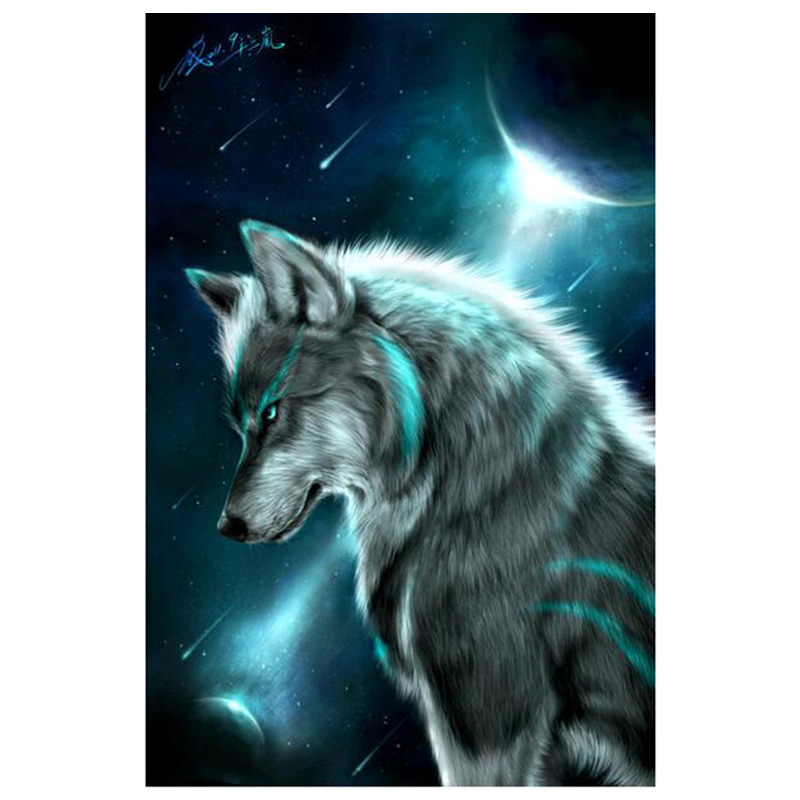 DIY 5D Diamante Bordado Noche Lobo Pintura Rhinestone de punto de Cruz Decora ST