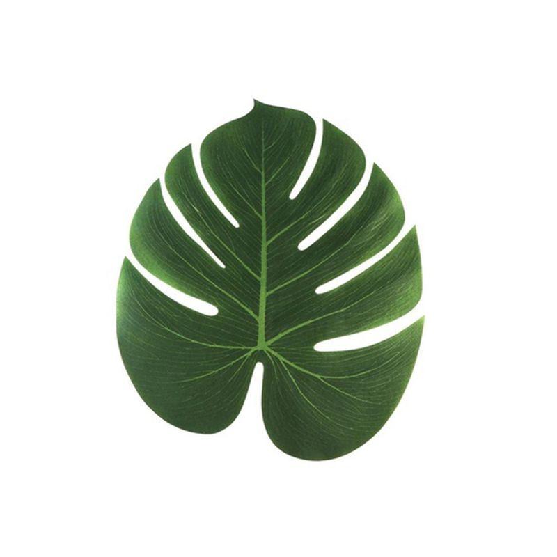 20X(12 pcs Table Flag Tropical Palm Leaf Emulation Leaf Hawaii Themed Part J7Z1)