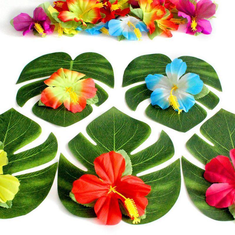 30 Pcs Feuilles De Palmier Tropicales Artificielles 24 Pcs Fleur D