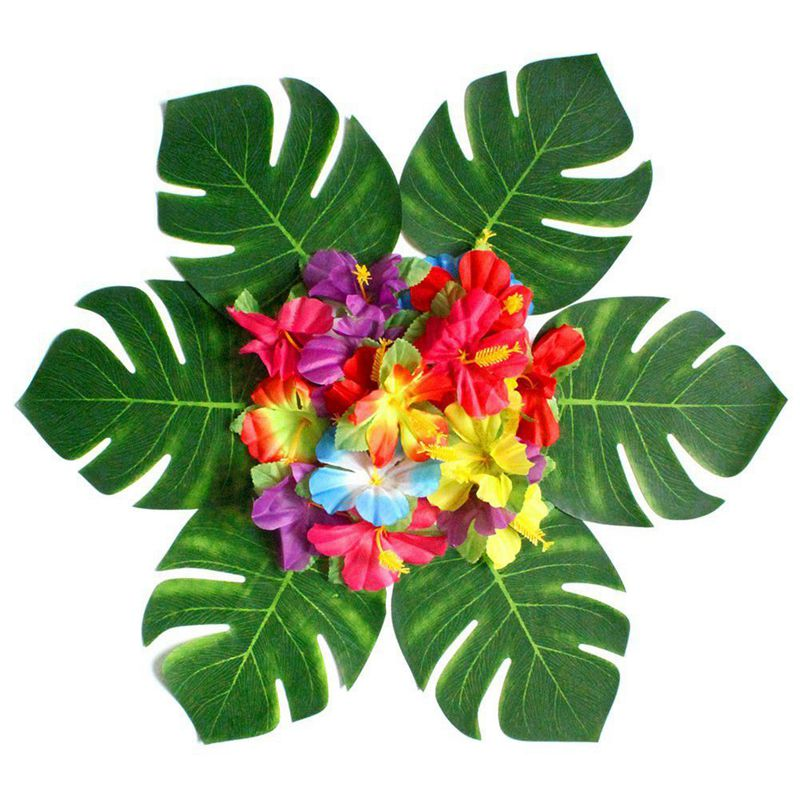 20X(30pcs Artificial Tropical Palm Leaves & 24 pcs Hibiscus Flower Hawaiia R7Y2)