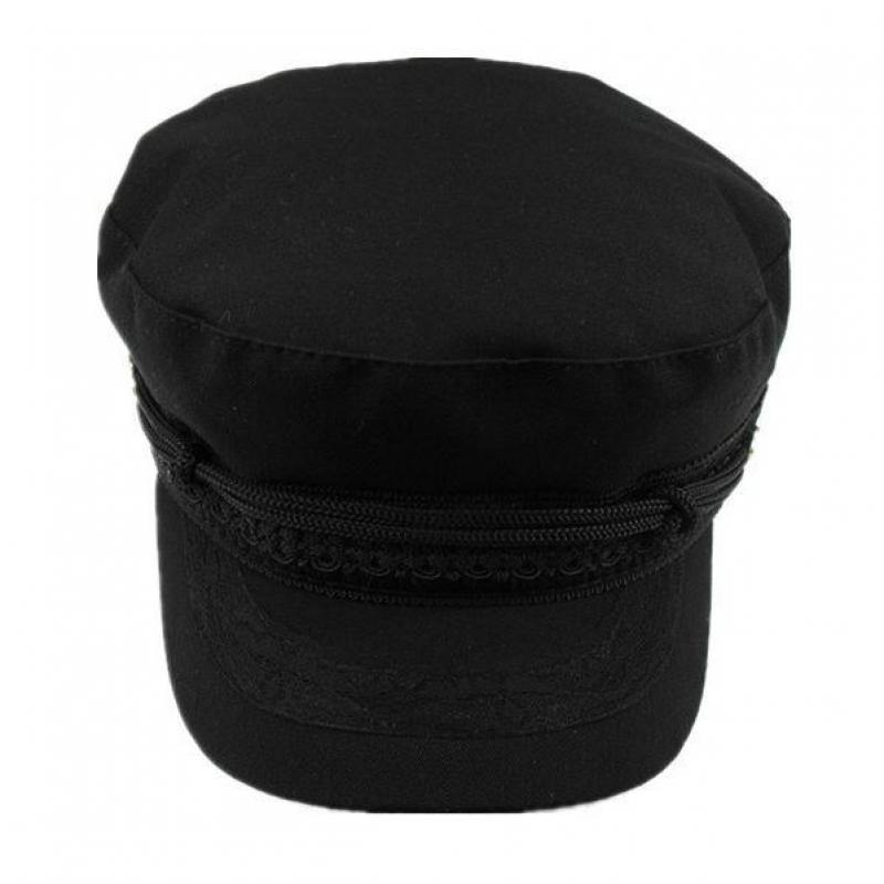 1X(Cappello Cappelli con visiera piatta per donna Cappellino nero donna  P8P9). 1X(Berretto piatto con bottone corda 435e6d55d5dd
