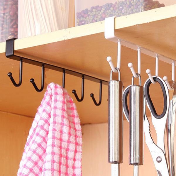 2X-Support-de-rangement-de-cuisine-Armoire-suspendue-crochet-etagere-Etager-M1P9 miniature 6