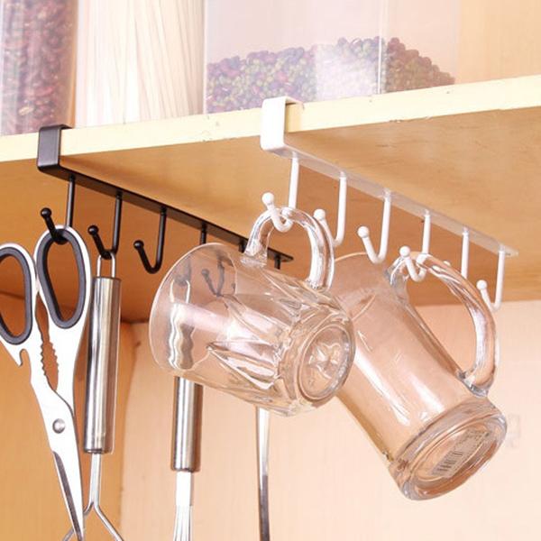 2X-Support-de-rangement-de-cuisine-Armoire-suspendue-crochet-etagere-Etager-M1P9 miniature 7