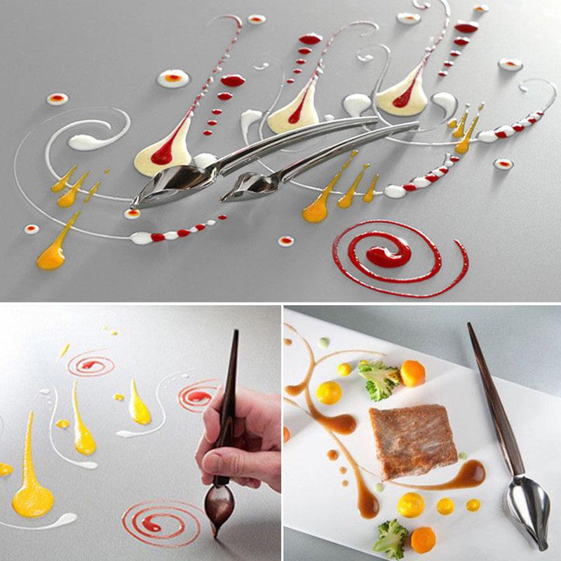 2X-DIY-Edelstahl-Schokolade-Loeffel-Bleistift-Loeffel-Kuchen-Dekorieren-BacU8O3 Indexbild 3