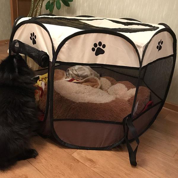 Portatil-Plegable-tienda-de-mascotas-Dog-House-Cage-Dog-Cat-Carpa-Playpen-P-F3M4 miniatura 4