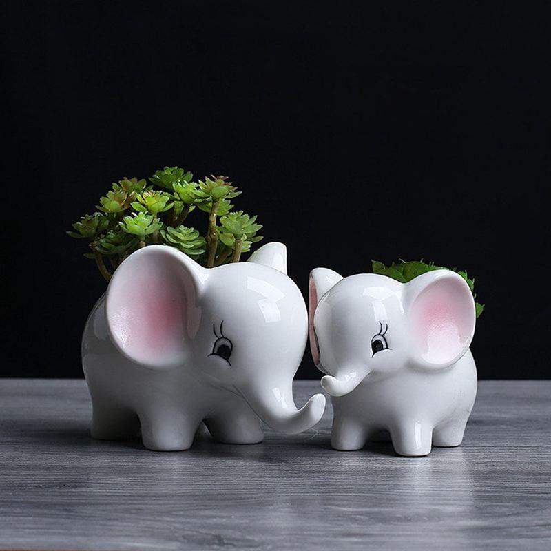 3X-Form-der-Tiere-Blumentopf-aus-Keramik-Elefant-Sukkulenten-Pflanzer-Kaktu-V2G8 Indexbild 5