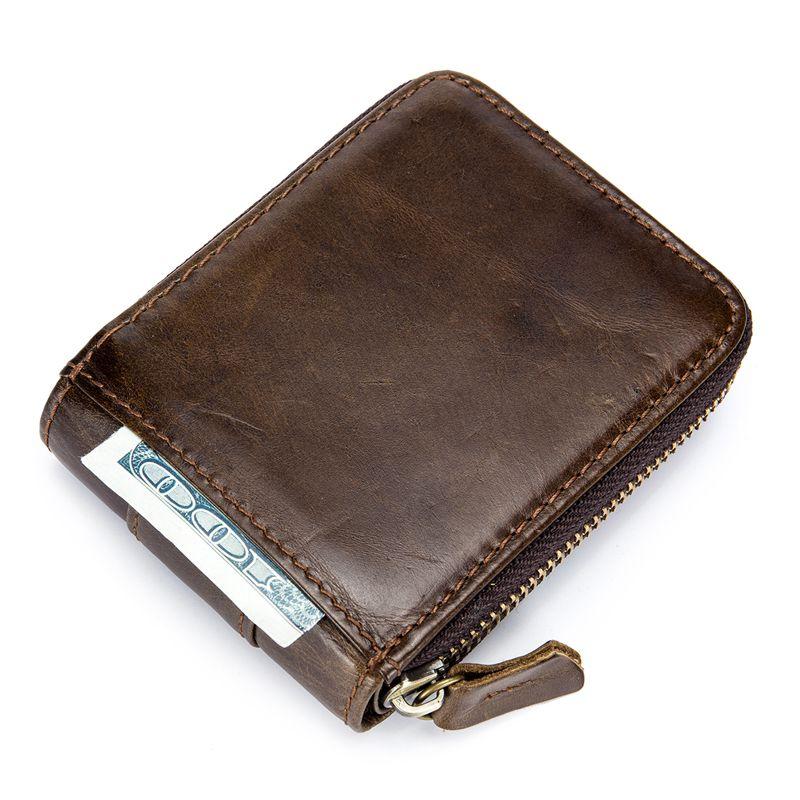 BULLCAPTAIN-Cartera-de-los-hombres-del-cuero-genuino-RFID-que-bloquea-Bifol-W6E2 miniatura 6