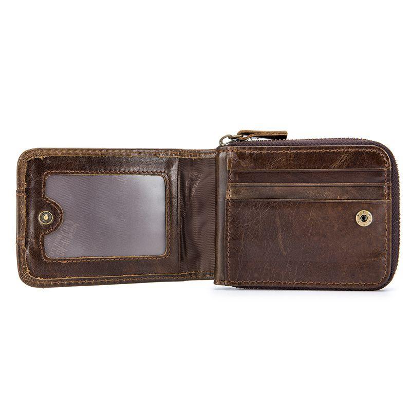 BULLCAPTAIN-Cartera-de-los-hombres-del-cuero-genuino-RFID-que-bloquea-Bifol-W6E2 miniatura 7
