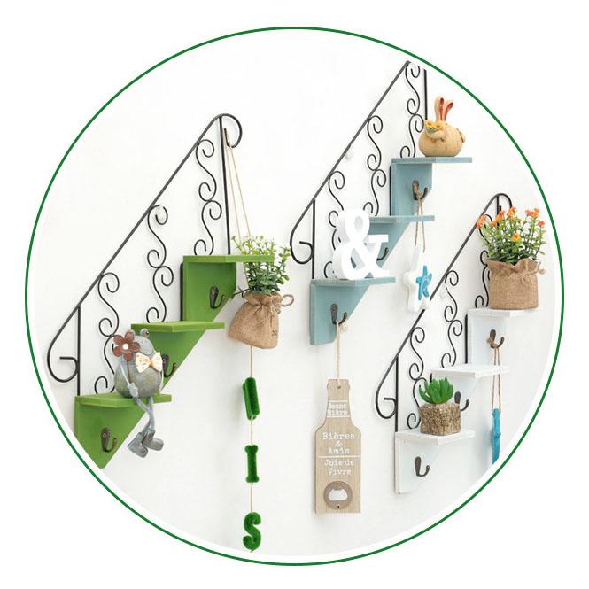 Creatif-stockage-d-039-escalier-de-support-en-bois-style-retro-etagere-a-fleurs-9L3 miniature 4