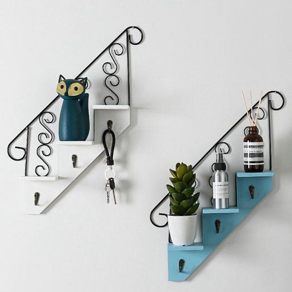 Creatif-stockage-d-039-escalier-de-support-en-bois-style-retro-etagere-a-fleurs-9L3 miniature 9