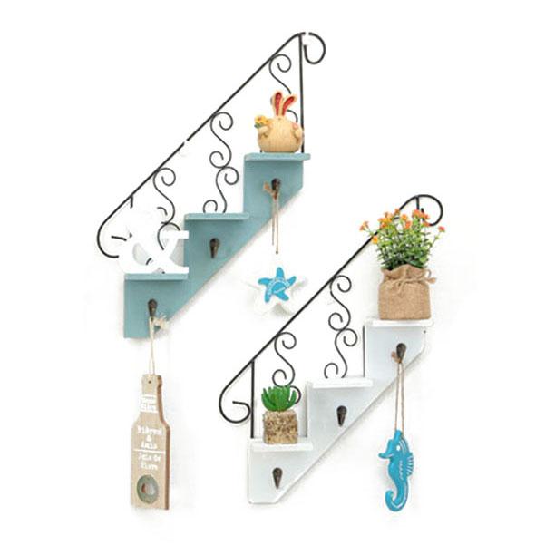 Creatif-stockage-d-039-escalier-de-support-en-bois-style-retro-etagere-a-fleurs-9L3 miniature 13