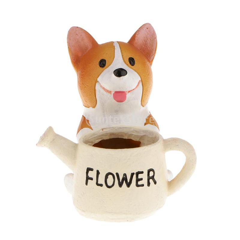 Cartoon Dogs Flower Vase Resin Succulent Cute Sleeping Animal For