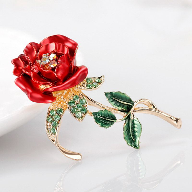 174a891ed Red Rose Flower Brooch Garment Accessories Wedding Bridal Jewelry ...