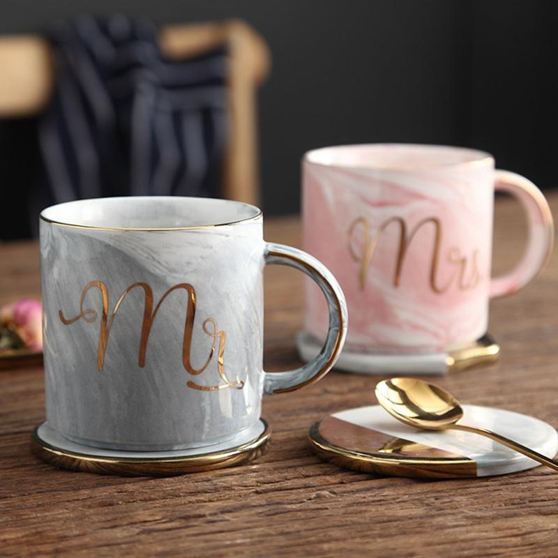 Tasses-en-ceramique-de-marbre-Couple-plaque-or-Cadeau-de-l-039-amant-Tasse-du-m-A9Y9 miniature 13