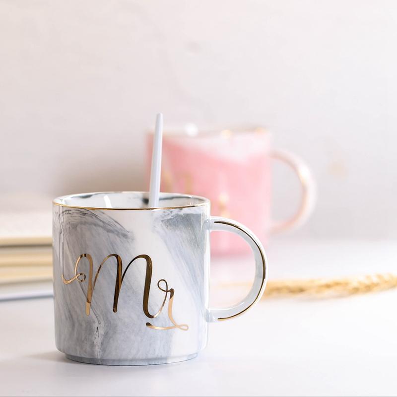 Tasses-en-ceramique-de-marbre-Couple-plaque-or-Cadeau-de-l-039-amant-Tasse-du-m-A9Y9 miniature 17