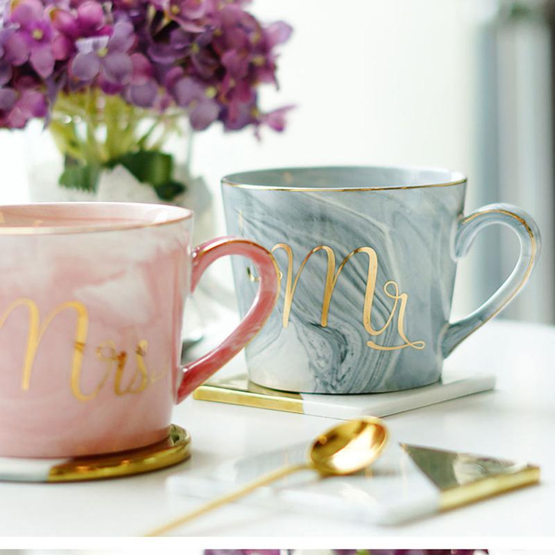 Tasses-en-ceramique-de-marbre-Couple-plaque-or-Cadeau-de-l-039-amant-Tasse-du-m-A9Y9 miniature 25