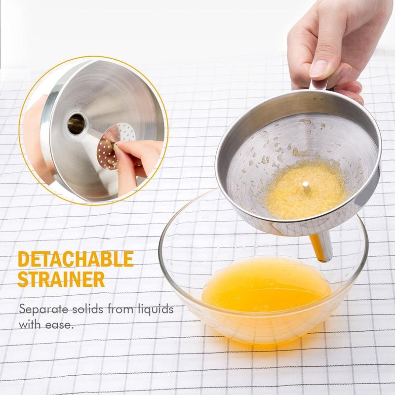 Entonnoir-de-cuisine-en-acier-inoxydable-Filtre-detachable-pour-transferer-C8Y1 miniature 7