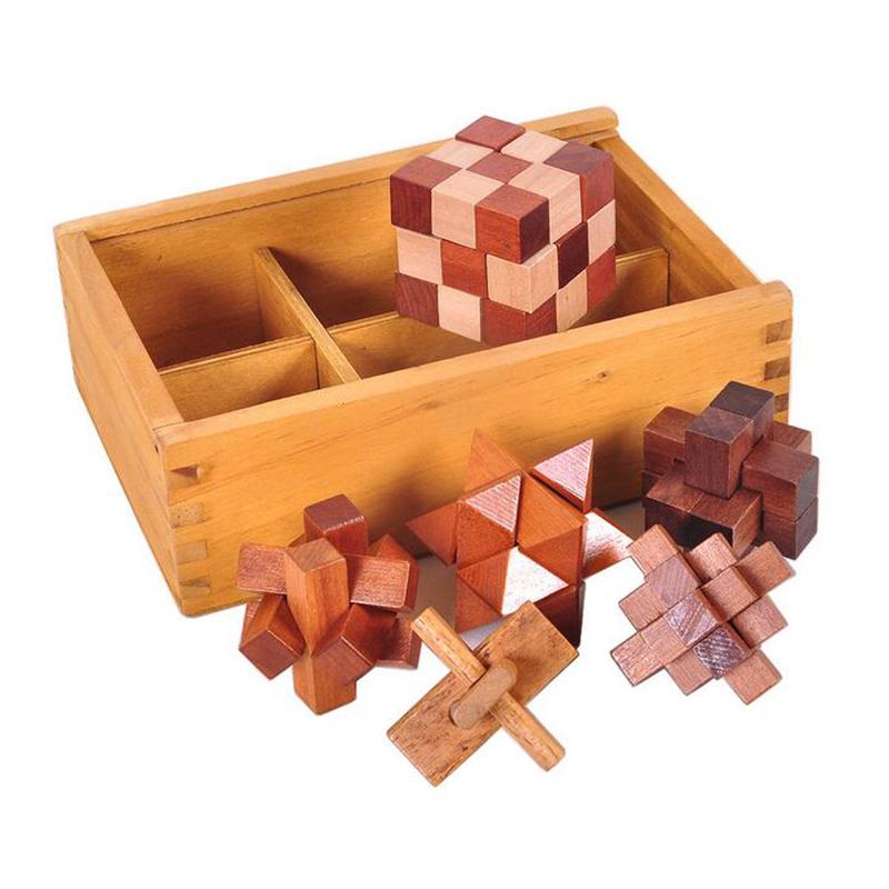 Details about 6PCS/Set Wooden Puzzle IQ Brain Teaser Burr Interlocking  Puzzles Game Toys D1G8