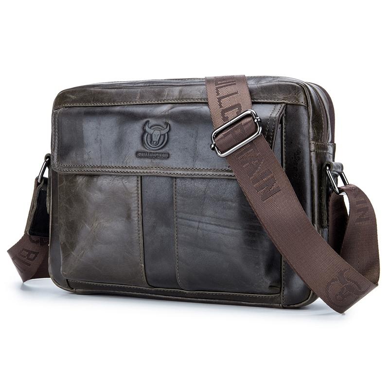 BULLCAPTAIN Shoulder Packs Business Men Genuine Leather Crossbody Bags Handbag