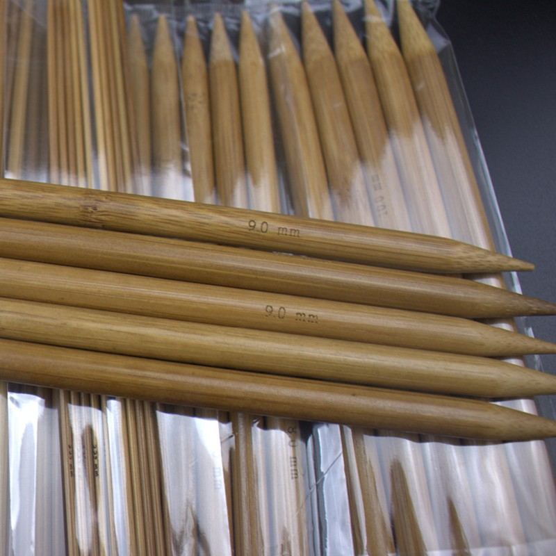 75pcs//set 15 Sizes 20cm Double Pointed Carbonized Bamboo Knitting Needles S G5K5