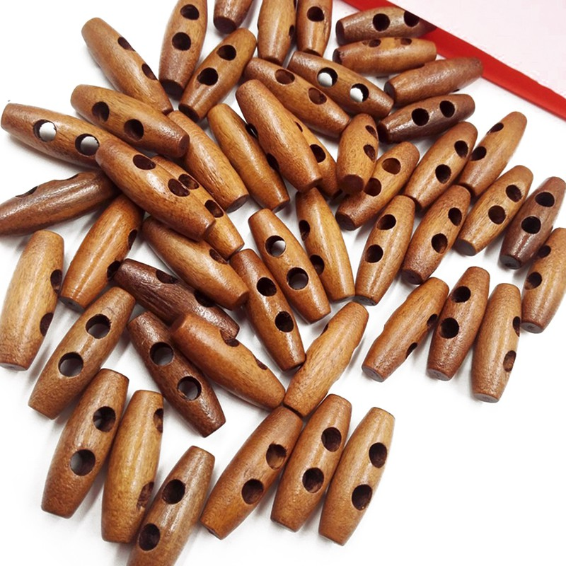 50 Pieces Olive Shape Wooden Toggles Buttons 2 Holes Sewing Buttons for Clo N9A5